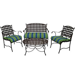 Blazing Needles All-weather UV-Resistant Settee Group Outdoor Cushions (Set of 3 )
