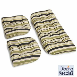 Blazing Needles All-Weather UV-Resistant U-Shaped Settee Group Outdoor Cushions (Set of 3)