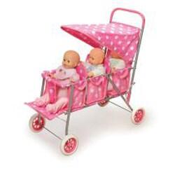Badger Basket Pink Polka Dots Triple Doll Stroller