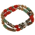 Southwest Moon Silver and Copper Multi-gemstone Stretch Bracelet
