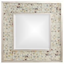 Ceramic and Wood Tile Insert with Silver Leaf Border
