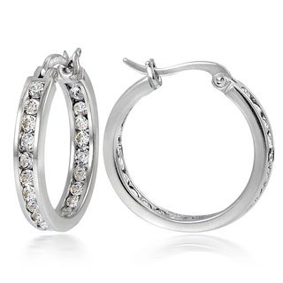 Icz Stonez Sterling Silver 2 5/8 ct TGW Cubic Zirconia Channel-set 30mm Hoop Earrings