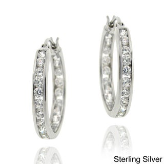 Icz Stonez 18k Gold Overlay/Sterling Silver Cubic Zirconia Hoop Earrings (2 5/8ct TGW)