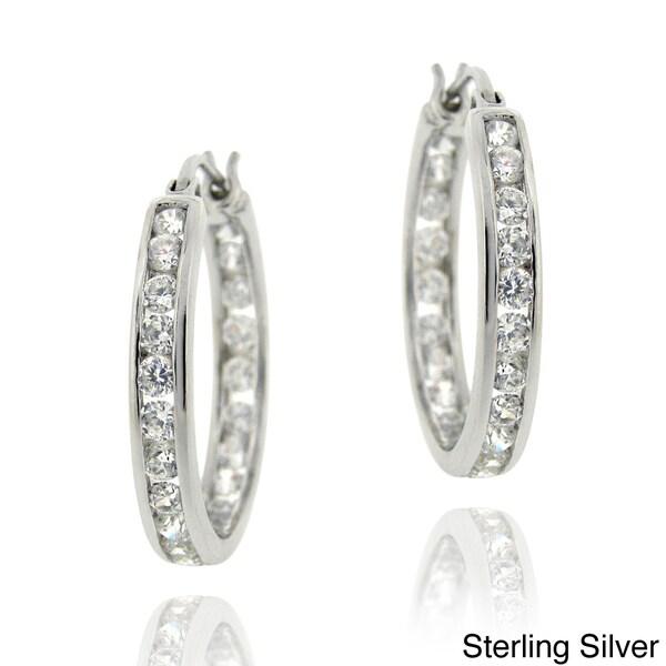 Icz Stonez Sterling Silver 2 5/8 ct TGW Cubic Zirconia Channel-set Hoop Earrings