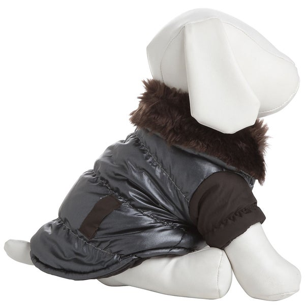 Pet Life Faux-fur Collared Polyester Dog Coat Jacket