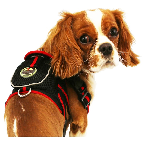 Pet Life Black and Red Adjustable Mesh Harness with Velcro Back Pouch