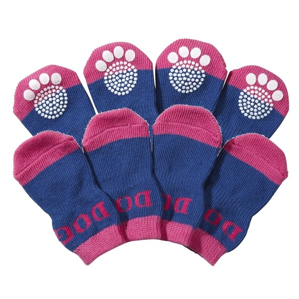 Pet Life Rubberized Soles Comfortable Warm Dog Socks (Pack of 4)