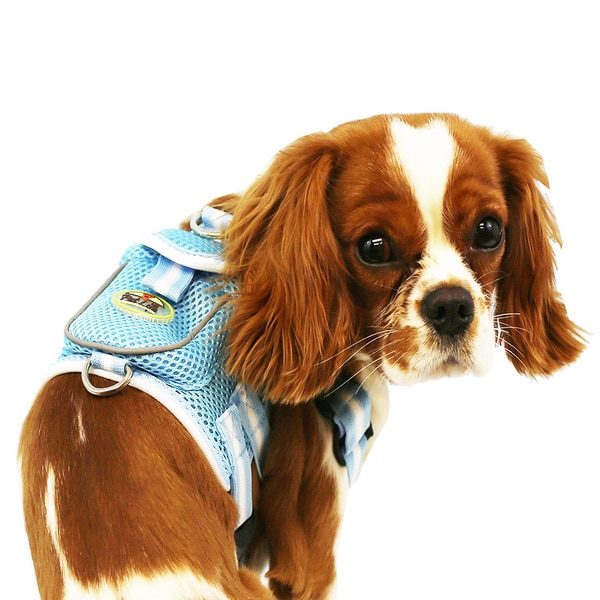 Pet Life Blue and White Adjustable Mesh Harness with Velcro Back Pouch