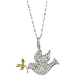 La Preciosa Sterling Silver Two-Tone Dove with Olive Branch Necklace