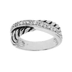 Sterling Silver Clear Cubic Zirconia Rope Ring