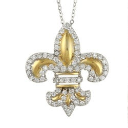 La Preciosa Goldplated Sterling Silver Cubic Zirconia Fleur De Lis Necklace