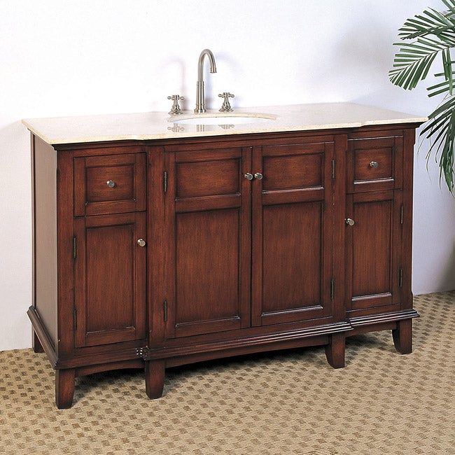 Marble Top 53-inch Single Sink Bathroom Vanity