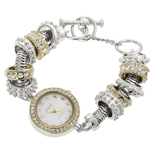 Geneva Platinum Women's Rhinestone-accented Toggle Watch