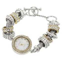 Geneva Platinum Women's Rhinestone-accented Toggle Watch