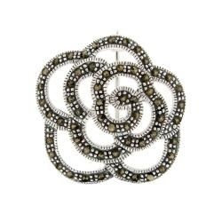 Glitzy Rocks High-polish Sterling Silver Brown Round Marcasite Rose Flower Pin