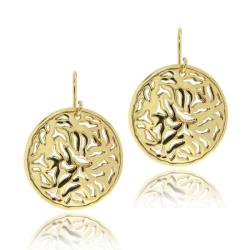 Mondevio 18k Gold over Sterling Silver Filigree Disc Dangle Earrings