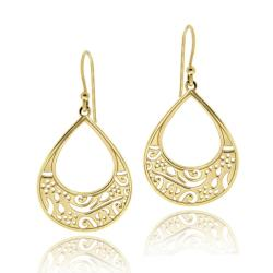 Mondevio Gold over Silver Filigree Teardrop Earrings
