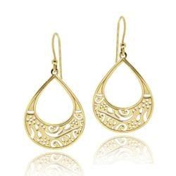 Mondevio Gold over Silver Filigree Teardrop Earrings