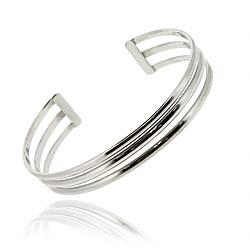 Mondevio Sterling Silver 3-row Cuff Bracelet
