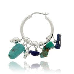 Glitzy Rocks Silver Turquoise and Lapis Hoop Earrings