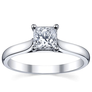 Platinum 1ct TDW White Princess Diamond Solitaire Engagement Ring (H-I, SI1-SI2)
