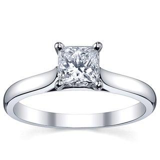 Platinum 1ct TDW White Princess Diamond Solitaire Engagement Ring (H-I, SI1-SI2)