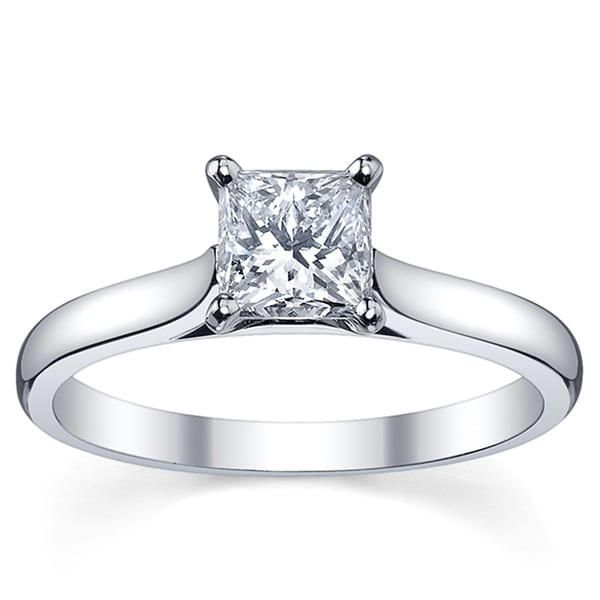 Platinum 3/4ct TDW Princess-Cut Diamond Solitaire Engagement Ring (H-I, SI1-SI2)