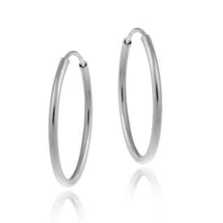 Mondevio 10k White Gold 11-mm Endless Hoop Earrings