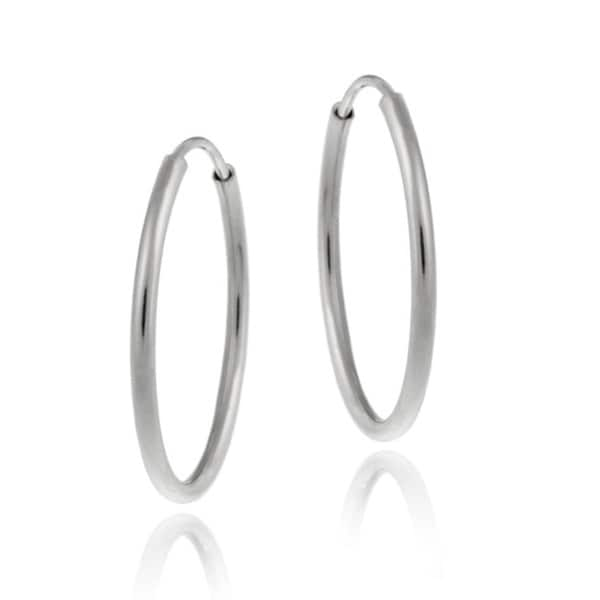 Mondevio 10k White Gold 11-mm Endless Hoop Earrings