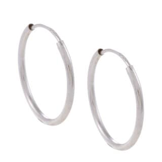 Mondevio 10k White Gold 13-mm Endless Hoop Earrings