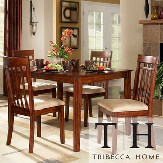 Tribecca Home Daphne Burnished Cherry 5-piece Mission Casual Dining Set