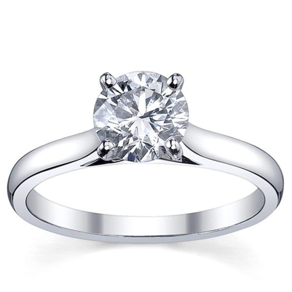 Platinum 3/4ct TDW Diamond Solitaire Engagement Ring (H-I, SI1-SI2)