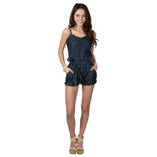 Ci Sono by Journee Juniors Spaghetti Strap Denim Jumper