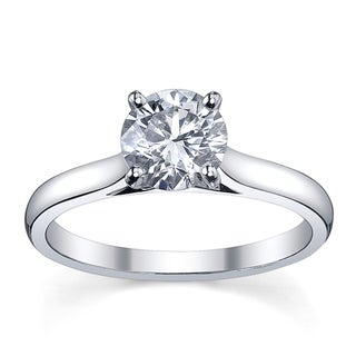 Platinum 1/2ct TDW Diamond Solitaire Engagement Ring (H-I, SI1-SI2)