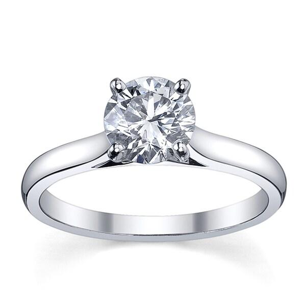 Platinum 1/2ct TDW Diamond Solitaire Engagement Ring (H-I, SI1-SI2)