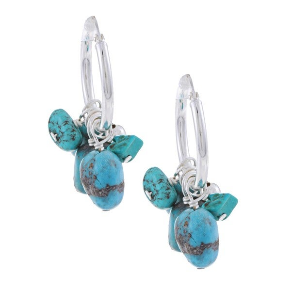 Glitzy Rocks Silver Turquoise Nugget and Chip Hoop Earrings