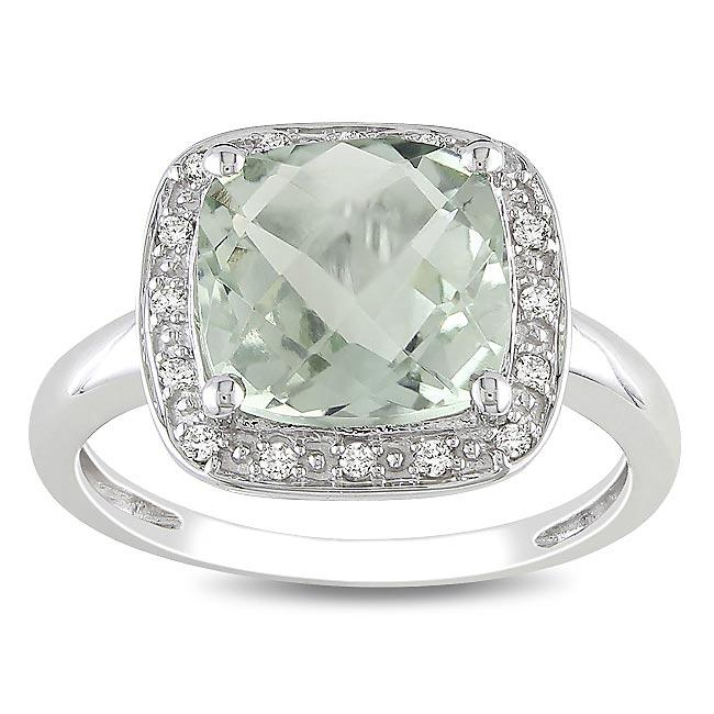 Miadora 10k White Gold Green Amethyst and 1/10ct TDW Diamond Ring (G-H, I2)