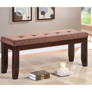 Tribecca Home Nolan Espresso Wood 48-inch Fabric Tuft