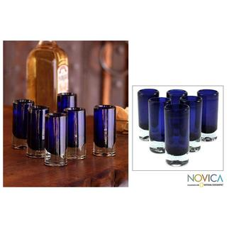 Set of 6 Blown Glass 'Pure Cobalt' Shot Glasses (Mexico)