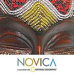 Wood 'Beaded Krobo Maiden' Mask (Ghana)