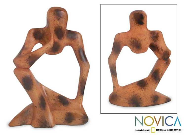 Wood 'Abstract Thinker' Sculpture (Ghana)