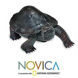 Sono Wood 'Black Turtle Journey' Sculpture (Indonesia)