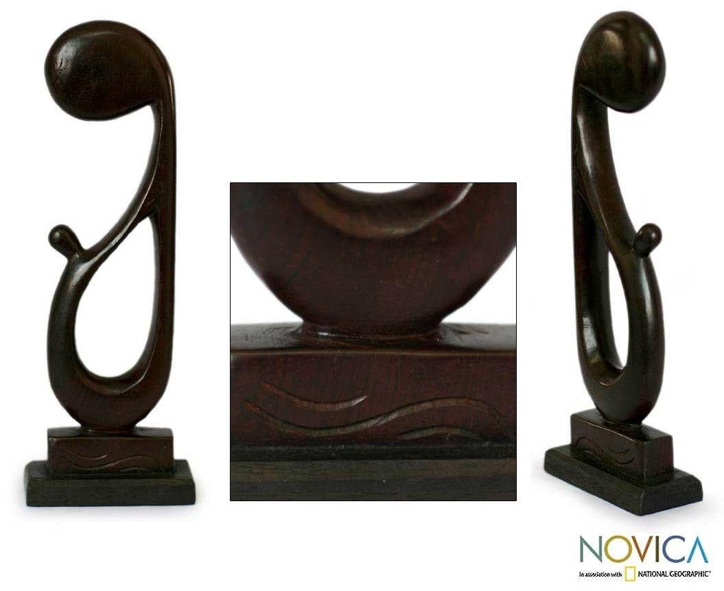 Ebony Wood 'Father and Son' Sculpture (Ghana)
