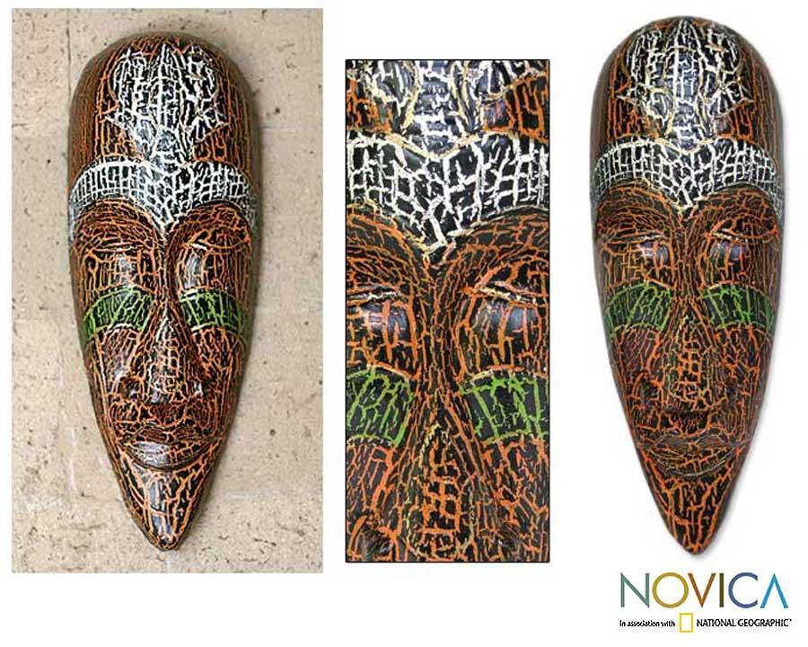 Albesia Wood 'Exotic Emerald' Mask (Indonesia)
