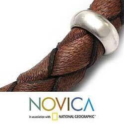 Men's Sterling Silver 'Chankas Warrior' Leather Bracelet (Peru)