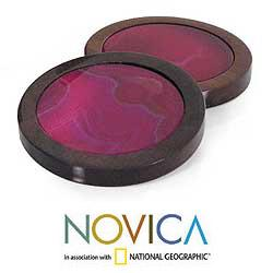 Set of 6 Cedar Wood 'Wild Pink' Agate Coasters (Brazil)