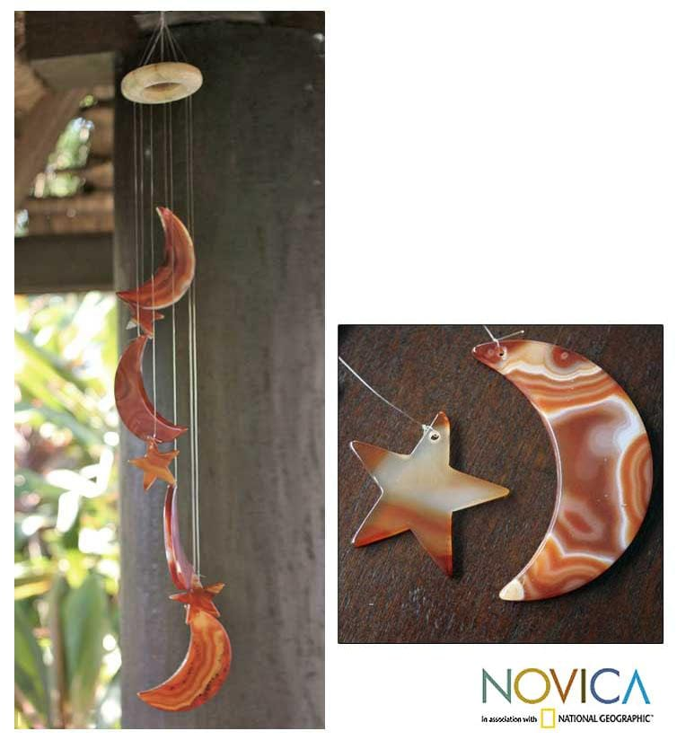 Handcrafted Orange Agate 'Moon and Stars' Wind Chimes (Brazil)