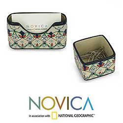 Ceramic 3-piece 'Floral Palette' Desk Set (Mexico)