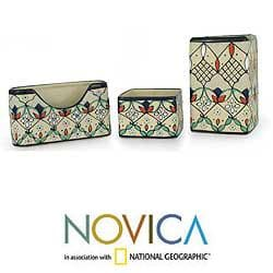 Ceramic 3-piece 'Floral Palette' Desk Set (Mexico)