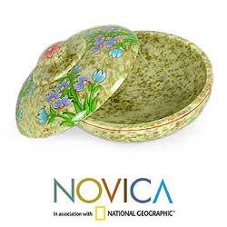 Soapstone 'Bluebells' Covered Bowl (India)